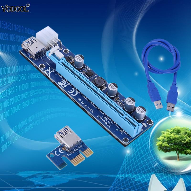 60CM USB3.0 Wire Square PCI E Express1X to 16X 008C Extender Riser ...