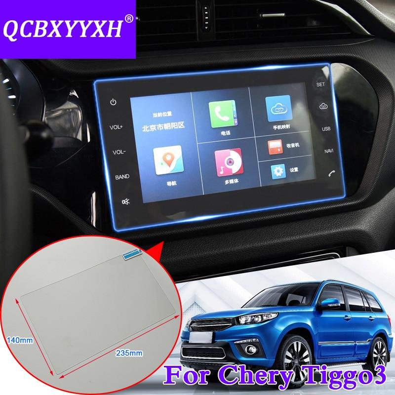 QCBXYYXH For Chery Tiggo 3 Car Sticker font b GPS b font Navigation Screen Glass Protective