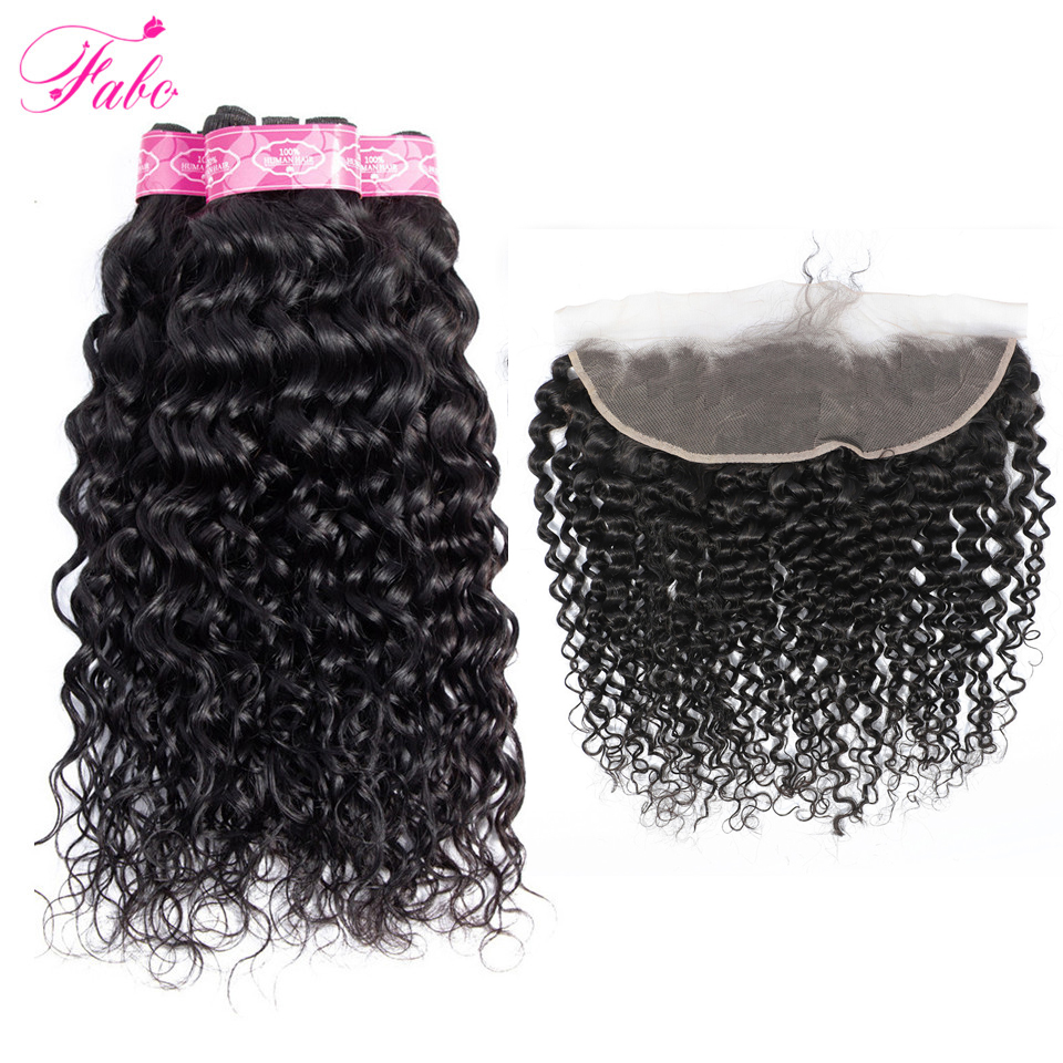 FABC Hair Malaysian Water Wave Bundles With Frontal Natural Black Non Remy Human Hair Bundles with