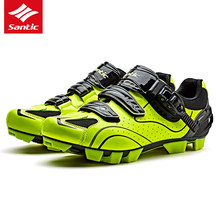 Santic Men MTB Cycling Shoes PU Breathable Moutain Bike Shoes Auto-lock Athletic Bicycle Shoes Chaussure Vtt Zapatillas Ciclismo
