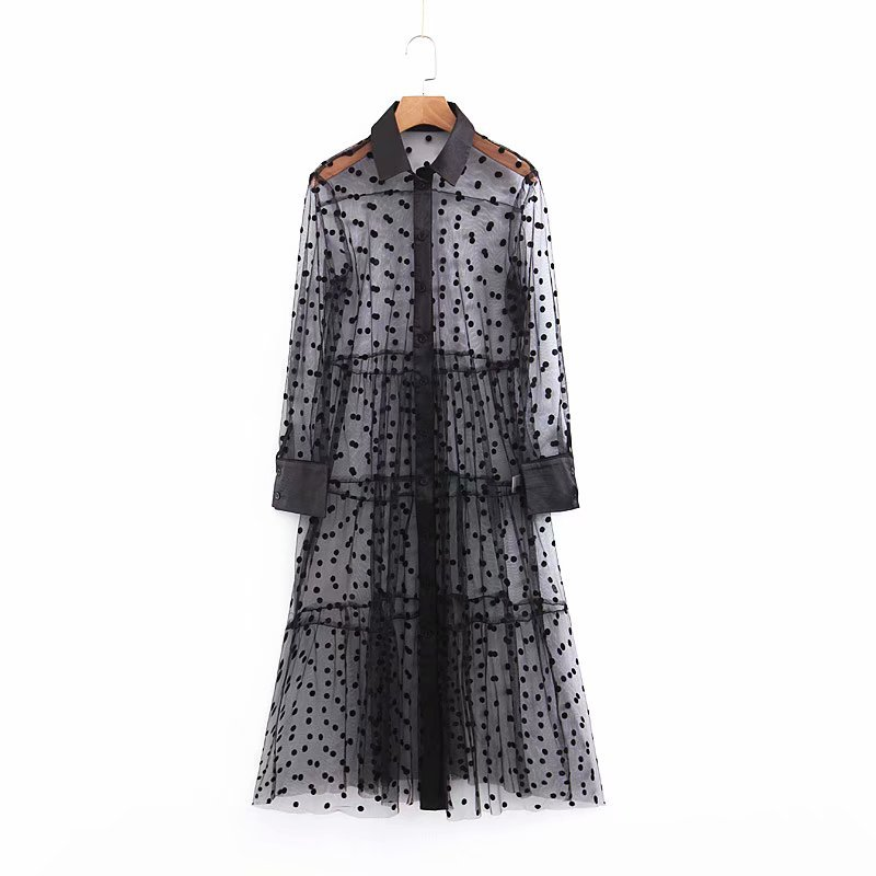 Sexy Perspective Polka Dot Midi Dress Women Long Sleeve Patchwork Mesh Dresses Transparent Shirt Dress in Dresses from Women 39 s Clothing