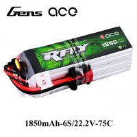 Gens ace RFLY 1850mAh 6S 22.2V 75C Max 150C Lipo Battery XT60 Deans T Plug for GOBLIN 380 Helicopter Fixed Wing Drone Airplane
