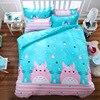 Aqua Pink Totoro Printed Bedding Set Cartoon Bedspread Single Twin Full Queen King Size Bedclothes Children
