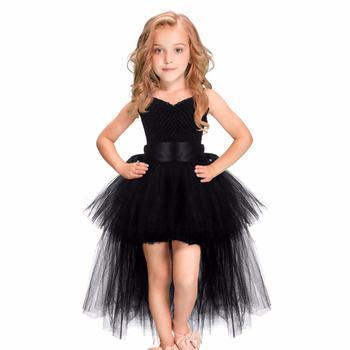 Black Tutu Dress Baby Girls Kids Ball Gown Strap New 2020 White Pink Flower Handmade Princes Fluffy Mesh Soft Tulle