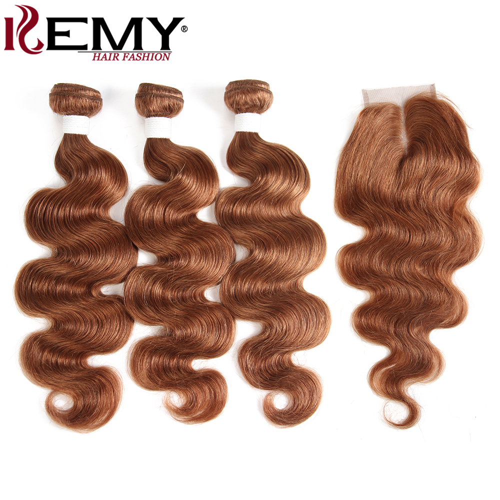 3PCS Body Wave Human Hair Bundles With Closure 4 4 KEMY HAIR Pre colored 100 Brazilian