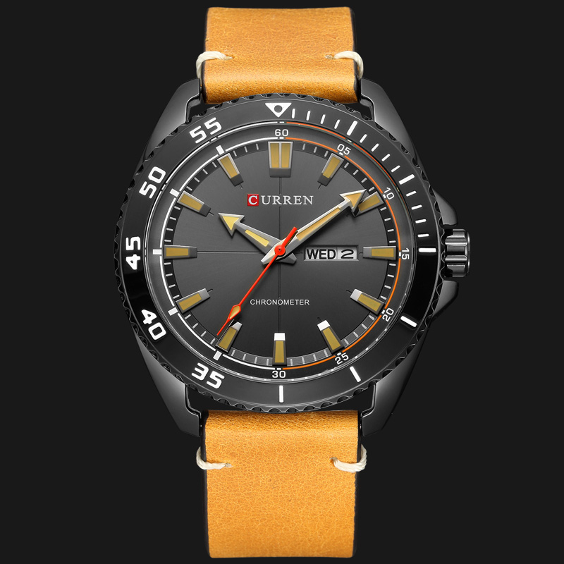 CURREN New Fashion Leather Strap Men Watches Creative Dial Business Wristwatch Week And Date Quartz Male Clock Reloj Hombre