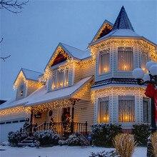 Гирлянда, рождественское наружное украшение, 5 м, отвисает, 0,4-0,6 м, занавеска, сосулька, светодиодная гирлянда, ЕС, 220 В, сад, Рождество, свадьба, вечеринка