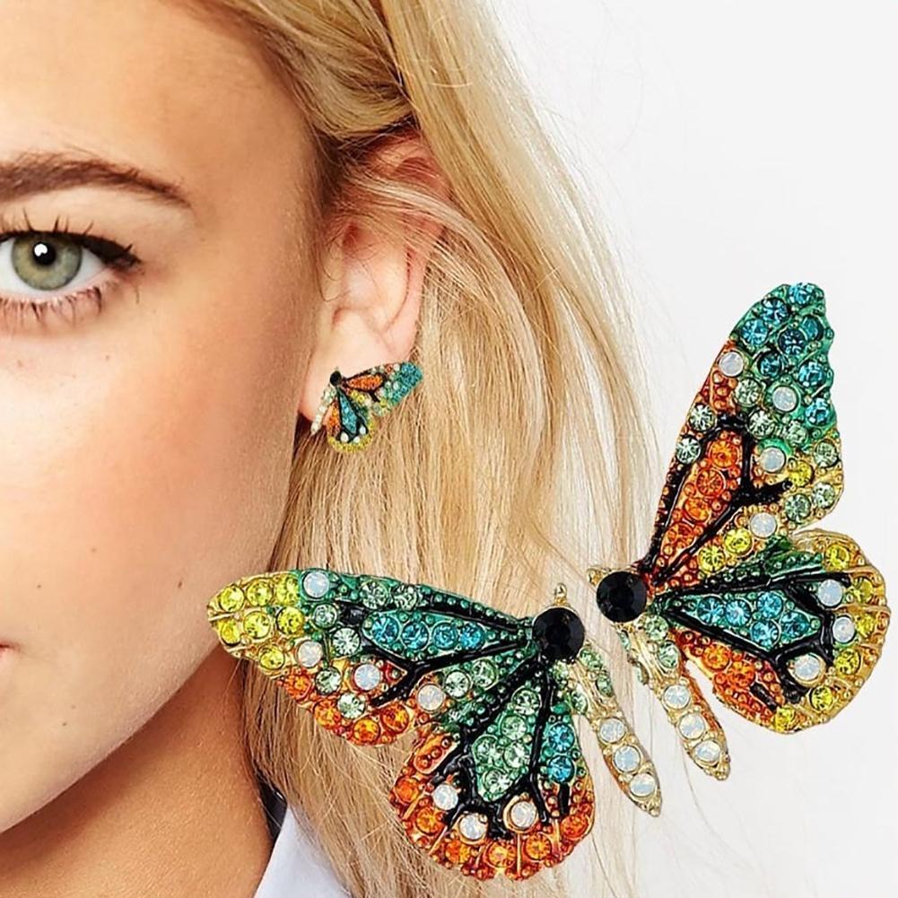 Fashion Women Multicolor Rhinestone Butterfly Ear Stud Earrings Party Jewelry 22