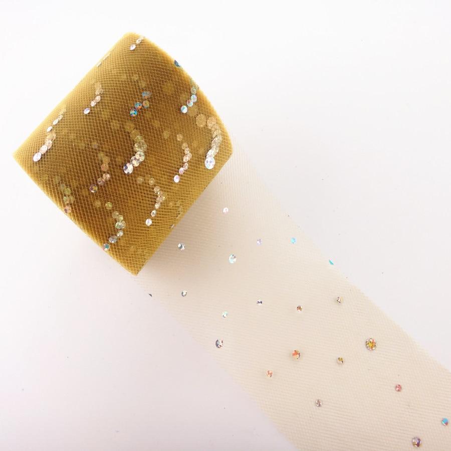 25 ярдов/рулон 6,5 см блеск рулон тюля с блестками Свадебные украшения кружева, тюль, платье-пачка «сделай сам» из органзы Baby Shower вечерние поставки - Цвет: AQ46