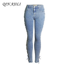 QIN AJILI 2019 Blue Hole Women Jeans Skinny Sexy Club Mid Waist Pencil Pants Denim Cotton Zipper Femme Full Length Free Shipping
