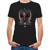T-shirt Casual Katoen Mouw Gothic Biker Death Schedel Zwaard Dragon Tattoo Gedrukt O-hals Mannen Korte Grappige T-shirt