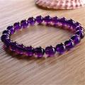 Оптовая продажа 8 - 10 мм подлинных природных фиолетовый аметист кварцевый резонатор стрейч браслеты для женщин роковой шарм круглый бусины браслет