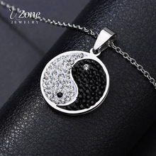 UZone Stainless Steel Rhinestone Yin Yang Tai Chi Pendant Necklace Crystal Coin Symbol Necklace for Women best friends Jewelry недорого