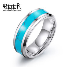 BEIER Vintage Retro Unisex Blue For Man Woman Stainless Steel Geometric Stone Ring Trendy Finger Jewelry BR-R055(China)