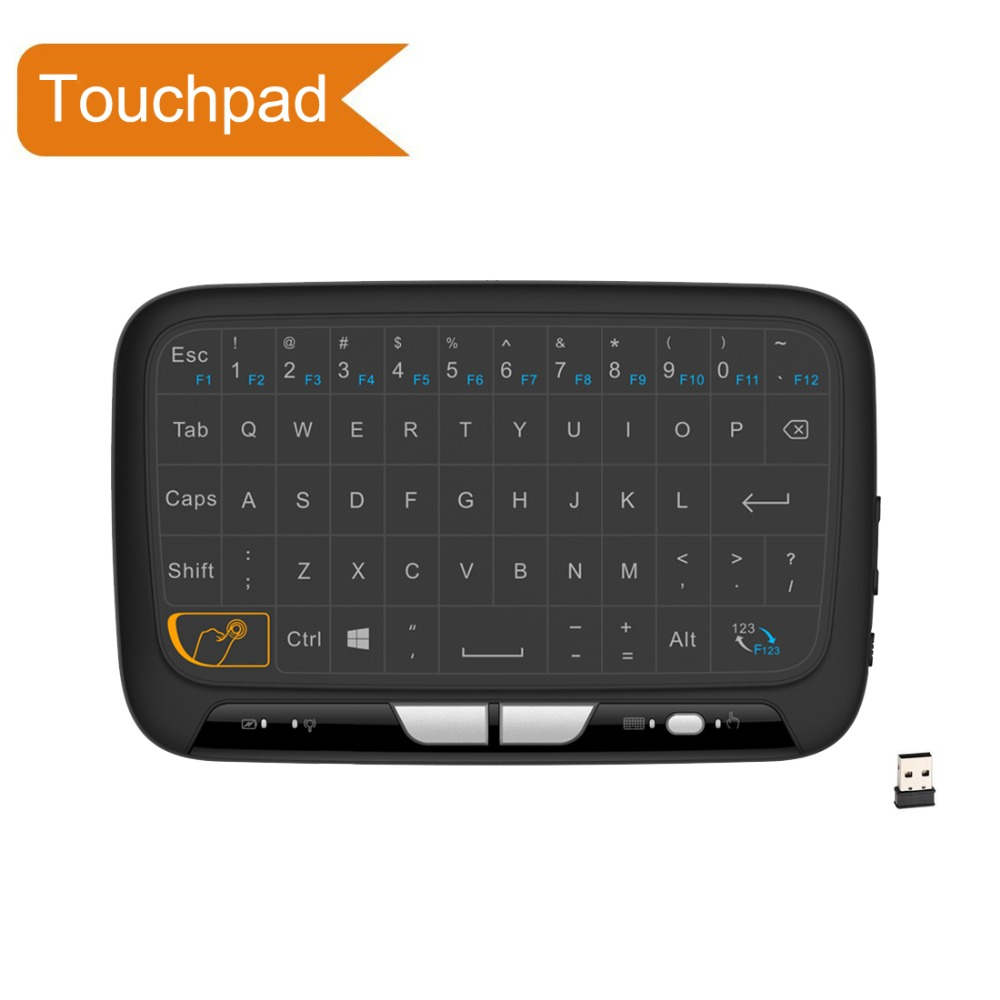 H18 Full Touchpad mini keyboard 2.4GHz Portable Wireless Keyboard With Touchpad Mouse For Smart tv,ipad,Android Box,PC new ru for lenovo u330p u330 russian laptop keyboard with case palmrest touchpad black