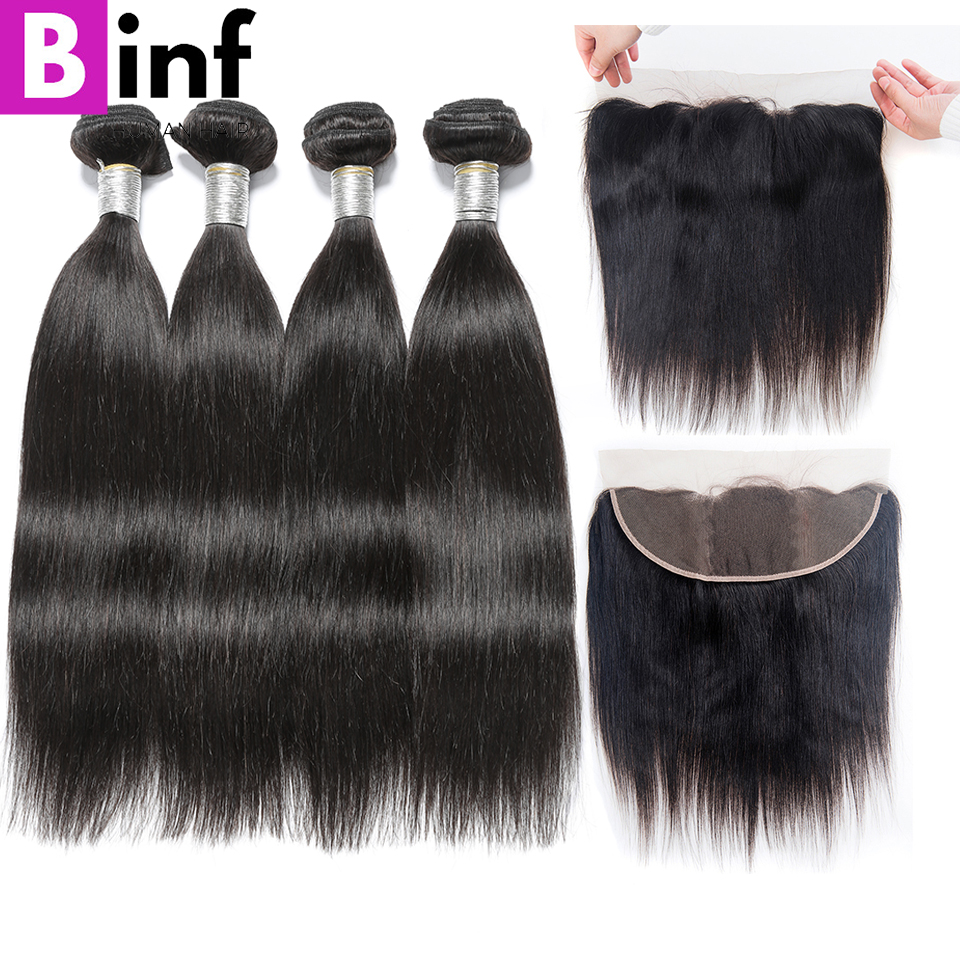 BINF Hair Remy Hair 4PCS Indian Straight Bundles With 13 4 Ear To Ear Baby Hair
