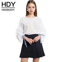 HDY Haoduoyi 2017 Women Fashion Brief Sheer Mesh Shirt Casual Long Sleeve O Neck Tops Cute