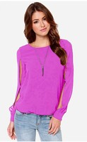 Women's Split Long Sleeve  Blouse O Neck Chiffon Loose Top