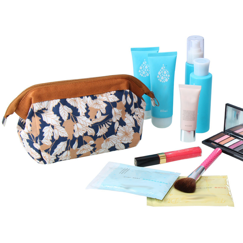 New Fashion Laides Travel Cosmetic Bags Makeup Storage Cases Flowers Leaves Flamingos Printed Women Girls Wash Make up Bags