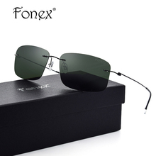 Fonex No Screw Rimless Sunglasses Titanium Polaroid Men Brand Designer d Squared Polarized Sun Glasses Handmade Eyewear 8203
