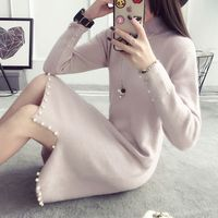 2018 Winter New Women S Pearl Knit Bottoming Shirt Korean Version Of The Long Section Loose