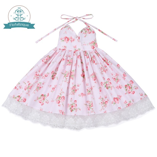 0c7ea8db55 Flofallzique Toddler Clothes 2018 Summer Vintage Floral Print Backless  Design for Girls Wedding Party Princess Dresses 1-8Y