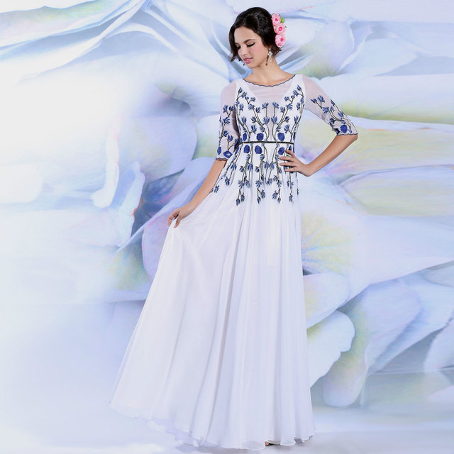 2017 New White Blue Embroidery Flowers Slim Temperament Half Sleeve O Neck Chiffon Long Prom