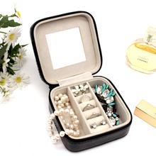 11*11.5*5 cm Jewelry Box Portable Storage Organizer Zipper PU Leather Case Women Display Travel for Lady Gifts