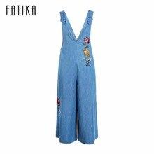 Fatika 2017 женские джинсовые комбинезон Комбинезоны повседневные синие джинсы цветочный Вышивка свободные штаны Джинсы Комбинезоны для женщин
