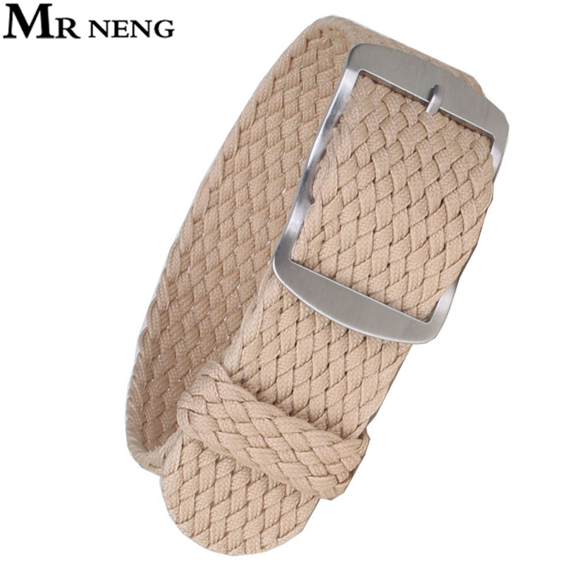 MR NENG 1 PCS / Wholesale Fashion Nylon Woven For Perlon Straps Beige Colors 20mm  Watchband 14 16 18 20 MM 22mm