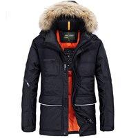 M〜4xlプラスサイズ2017ジャケット軍秋冬暖かい男性アヒルのダウンジャケットとコート厚み偽毛皮の襟カジュアルブランドの