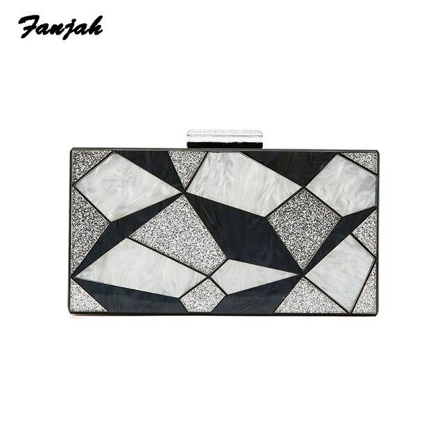 Geometric Striped Acrylic Crossbody Purse for Women 2018 Handbag Female Shoulder Messenger Bag Ladies Small Tote Acrylic Clutch