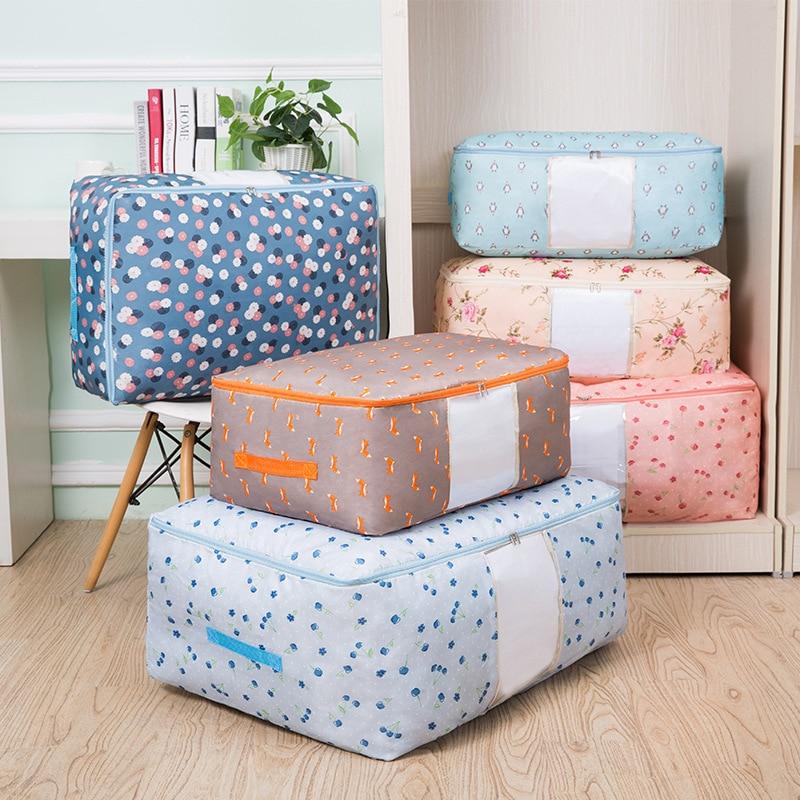 New Waterproof Portable Clothes Storage Bag Organizer Folding Closet Organizer For Pillow Quilt Blanket Quilt Bag Organizer(China)