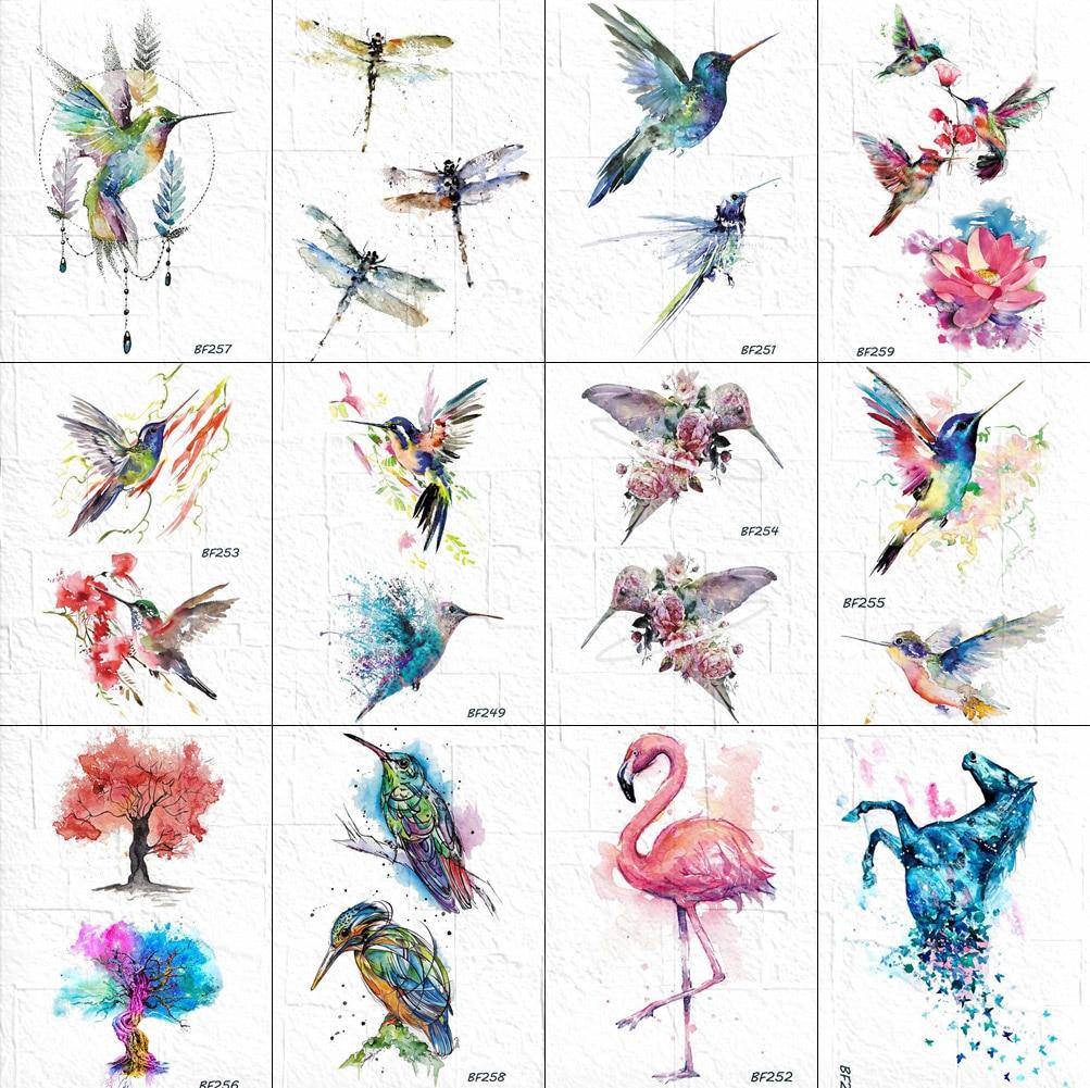 Watercolor Flash Temporary Hummingbird Tattoo Women Dragonfly Birds Body Art Tatoos Waterproof Fake DIY Painting Tattoos Sticker
