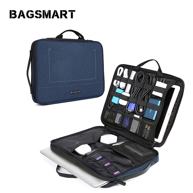 BAGSMART  Laptop Sleeve Case For 13-14 Inch Laptop And Electronics Organizer  Briefcase Tablet Portfolio Case
