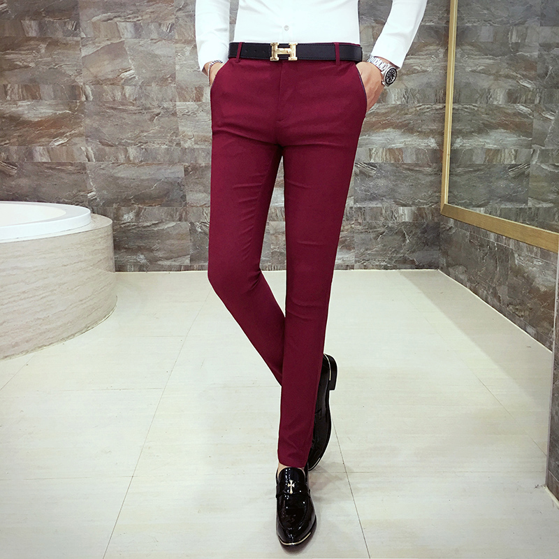 2020 Men's Casual Trousers, Fashion High-quality Brand Solid Color Wedding Suit Pants ,Business Men's Pants Wine Red Feet Pants