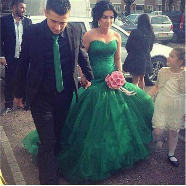verde esmeralda mermraid novia sin tirantes de tul vestido de fiesta