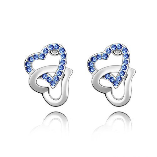 Elegant Double Heart Crystal Stud Earrings With Austrian Crystal Fit for evening dress Set Jewelry--  #81867