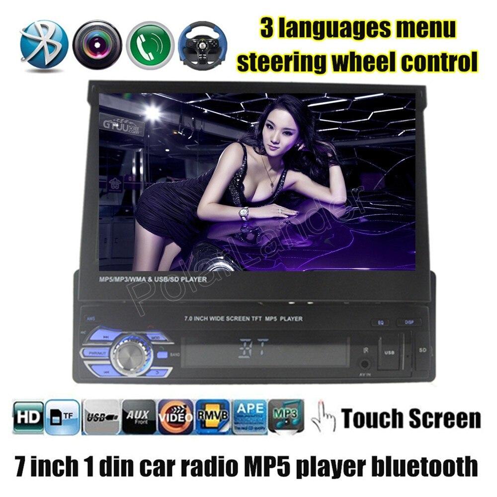imágenes para 7 pulgadas Radio Del Coche 1 DIN En El Tablero de control del volante Estéreo FM/Aux/USB/TF/bluetooth/pantalla táctil reproductor MP5 MP4 3 idiomas