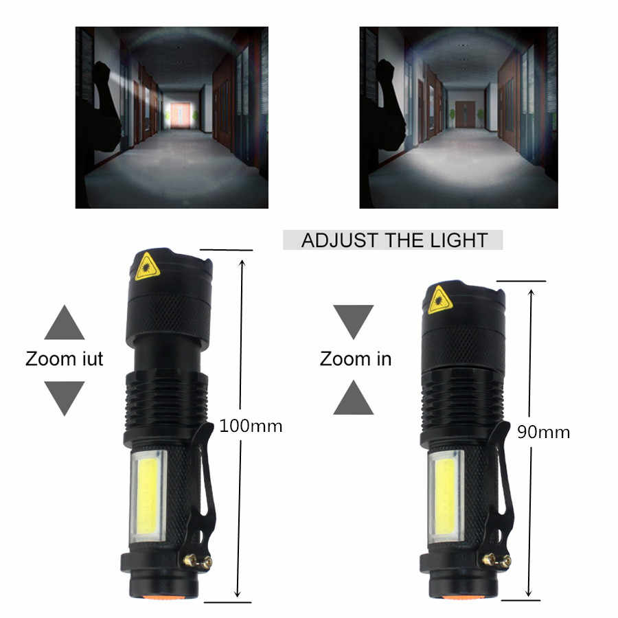 مصباح ليد جيب 2000LM Q5 مصباح ليد جيب صغير COB الشعلة AA/14500 قابل للتعديل التكبير التركيز الشعلة USB T6 ضوء فلاش 18650 Penlight