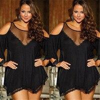 Black Sexy Babydolls Sleepwear Women Erotic Lingerie Dress Sexy Lingerie Hot Pajamas Mini Dresses Plus Size