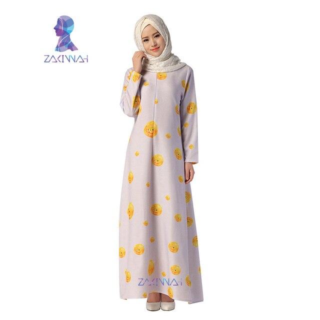 045 Новое Прибытие Длинным Рукавом Турецкая Исламская Мода Печати Мусульманских Женщин Платье Кафтан Абая Малайзия