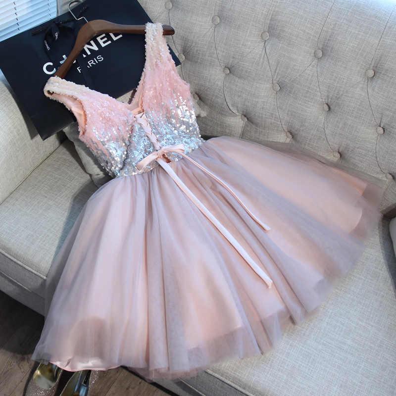 קצר שמלות נשף ללכת לידך כדור שמלה ורוד אפור נצנצים V-צוואר אלגנטי ערב רשמי המפלגה שמלת vestido formatura curto