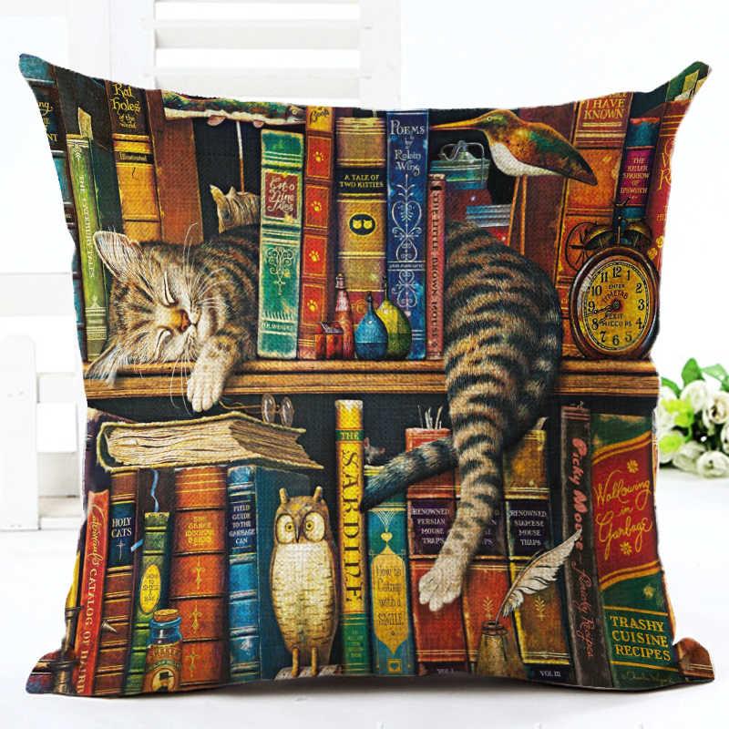 Moda Livro Bonito do Partido Do Gato Capa de Almofada Lance Fronha Casa Decorativo Sofá de Linho Quadrado Impressão Cojines Almofada Caso