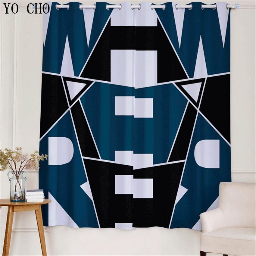 YO CHO 3d rideau de fenêtre motif géométrique rideaux blancs rideau voilage rideaux de luxe pour chambre enfants/garçons rideaux