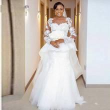 Mermaid Wedding Dresses African Jewel Neck Lace Appliques Beads Sheer Long Sleeves  Peplum Ruffles Dubai wedding d83ef3149b3c