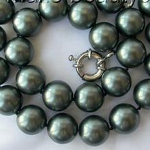 f627f8f2fae1 Impresionante Gran 14mm redondo Tahiti negro Mar del Sur shell perla collar  AAA estilo fino Noble real Natural envío gratis