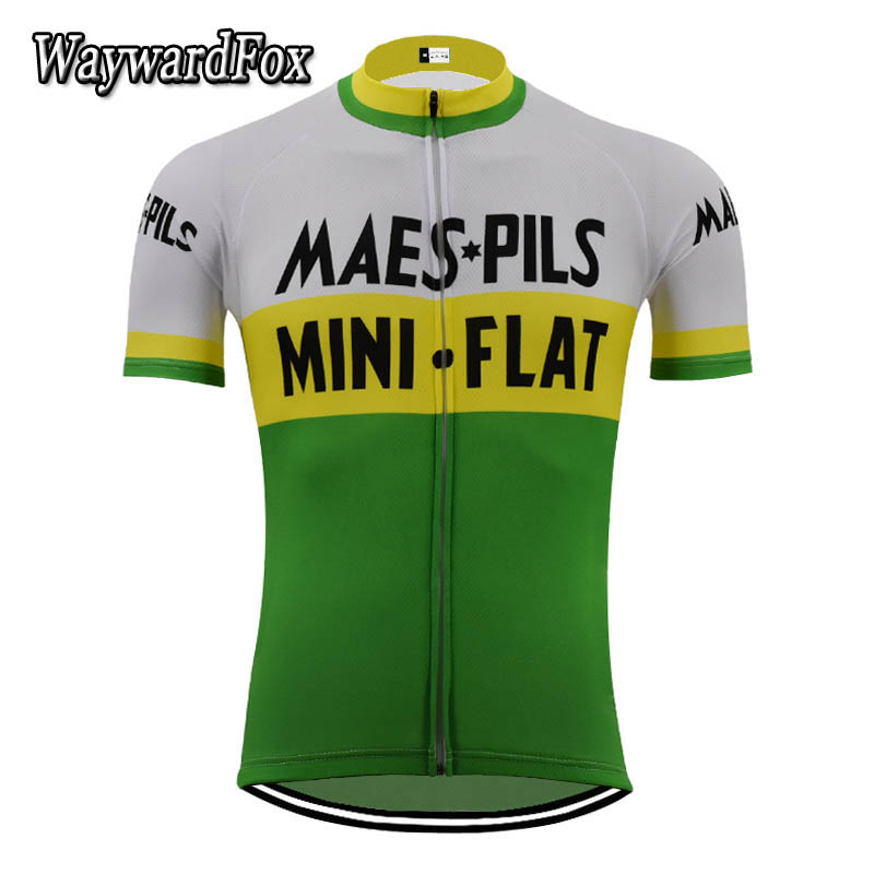 6f356a315 Hot Classic retro white green yellow Cycling Jersey Short Sleeve Breathable  Mountain Quick-