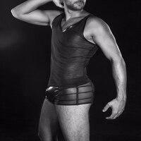 Erkekler boksörler şort şeffaf underwear lingerie siyah pantolon süper seksi wetlook boxer