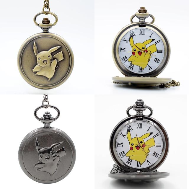 Fashion Pikachu Game Boy Pokemon Pocket Monsters Quartz Pocket Watch Analog Pend